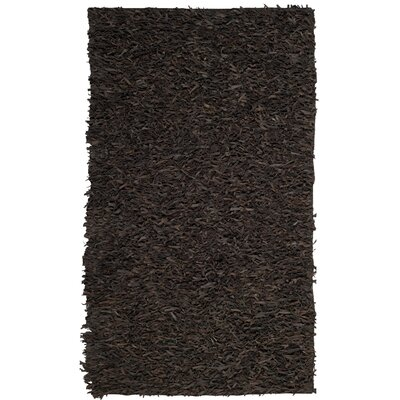 Sorrel Leather Hand-Knotted Dark Brown Area Rug Rug Size: Square 5