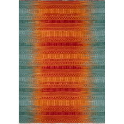 Sojourn Hand-Woven Teal/Red Area Rug Rug Size: Rectangle 4 x 6