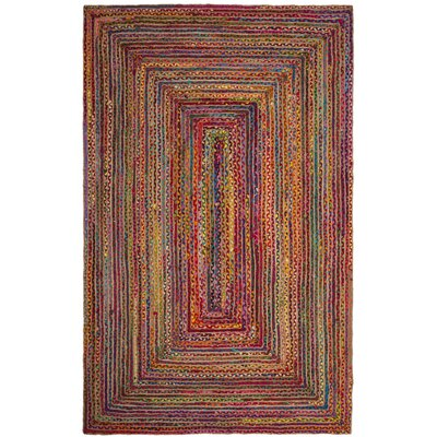 Bowen Hand-Woven Red/Yellow Area Rug Rug Size: Oval 5 x 8