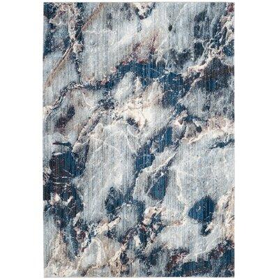 Jasper Blue/Ivory Area Rug Rug Size: 51 x 76