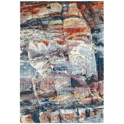 Jasper Blue/Red Area Rug Rug Size: 4 x 6
