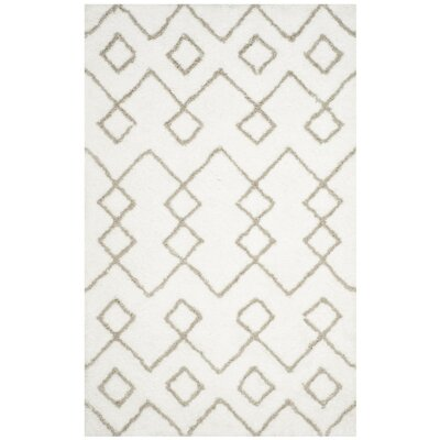 Livingstone Hand-Tufted Ivory/Silver Area Rug Rug Size: Rectangle 5 x 8