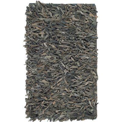 Sorrel Leather Hand-Knotted Gray Area Rug Rug Size: 5' x 8'