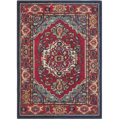 Monaco Red/Turquoise Area Rug Rug Size: Rectangle 53 x 76