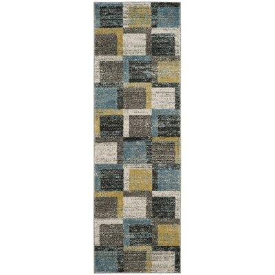 Tahoe Gray / Light Blue Area Rug Rug Size: Runner 26 x 8