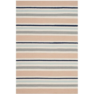 Claro Multi Stripe Hand-Tufted Ivory Area Rug Rug Size: Square 5