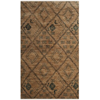 Parisi Hand-Knotted Natural/Deep Teal Area Rug Rug Size: 4 x 6