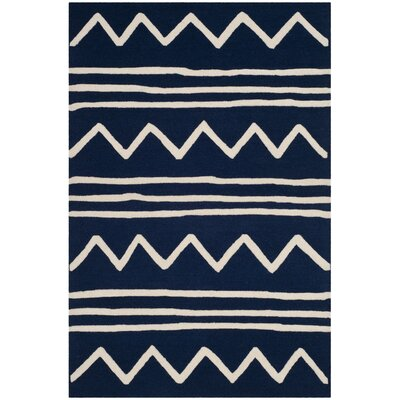 Claro Zigzag Hand-Tufted Navy Area Rug Rug Size: Square 5