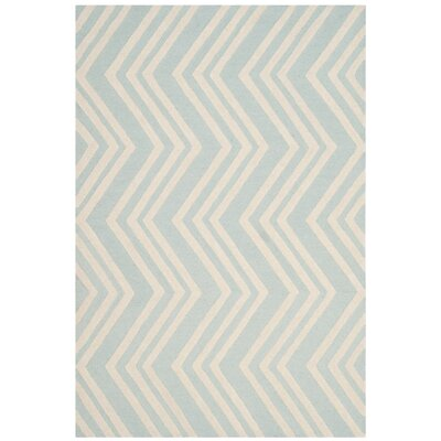 Claro Wave Hand-Tufted Mint/Ivory Area Rug Rug Size: 6 x 9