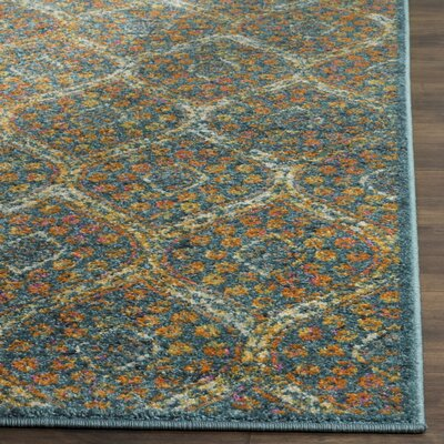Carrillo Blue Area Rug Rug Size: Round 67