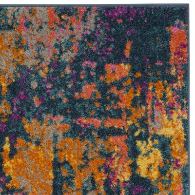 Carrillo Blue/Orange Area Rug Rug Size: 3 x 5