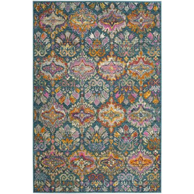 Grieve Blue/Orange Area Rug Rug Size: Round 67
