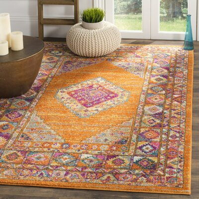Carrillo Orange/Fuchsia Area Rug Rug Size: Round 67