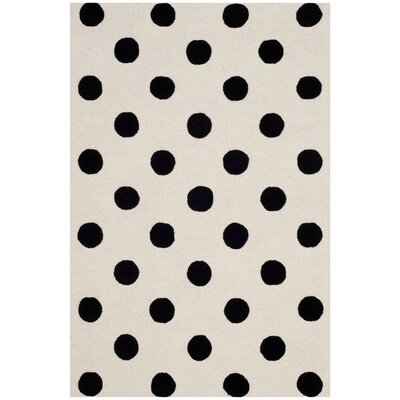 Claro Polka Dots Hand-Tufted Ivory/Black Area Rug Rug Size: 5 x 7