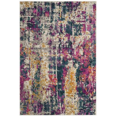 Carrillo Ivory/Blue Area Rug Rug Size: Rectangle 51 x 76