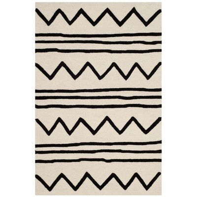 Claro Zigzag Hand-Tufted Ivory/Black Area Rug Rug Size: Rectangle 6 x 9