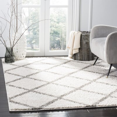 Helsel Ivory/Gray Area Rug Rug Size: Round 67