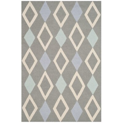Claro Diamonds Hand-Tufted Gray Area Rug Rug Size: Round 5