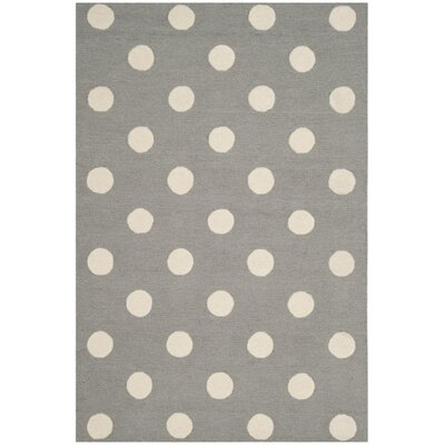 Claro Polka Dots Hand-Tufted Gray/Ivory Area Rug Rug Size: Rectangle 4 x 6