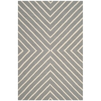 Claro X Pattern Hand-Tufted Gray/Ivory Area Rug Rug Size: 4 x 6