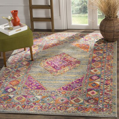 Carrillo Light Gray/Fuchsia Area Rug Rug Size: 51 x 76