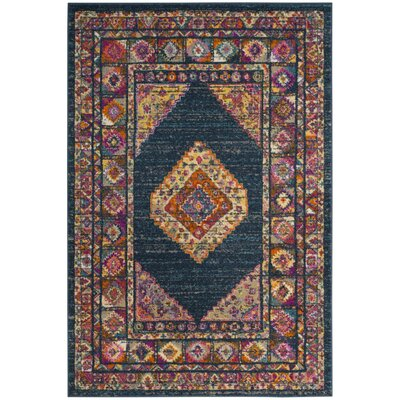 Grieve Blue/Fuchsia Area Rug Rug Size: Rectangle 51 x 76