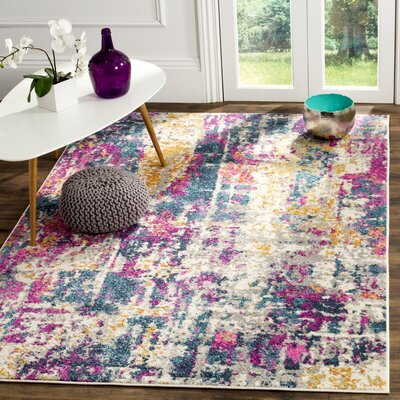 Carrillo Ivory/Blue Area Rug Rug Size: 51 x 76