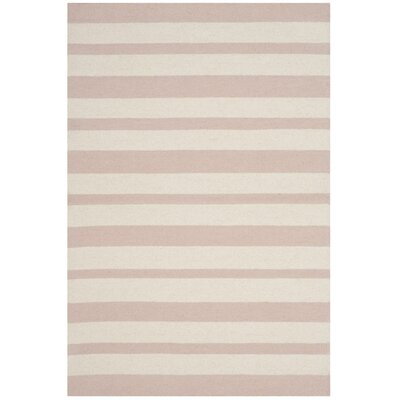 Claro Stripe Hand-Tufted Pink/Ivory Area Rug Rug Size: Rectangle 6 x 9