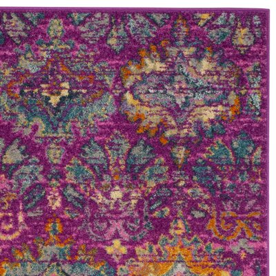 Grieve Fuchsia/Blue Area Rug Rug Size: Rectangle 51 x 76
