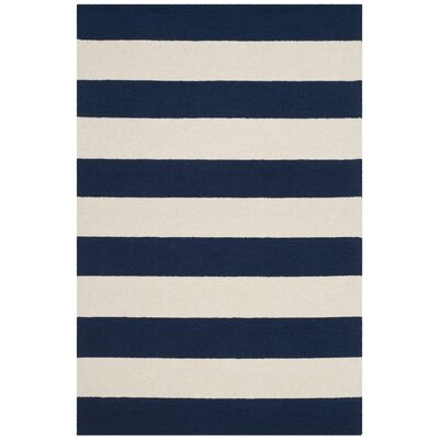 Claro Stripe Hand-Tufted Navy/Ivory Area Rug Rug Size: 3 x 5