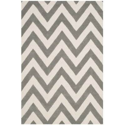 Claro Basic Chevr Hand-Tufted Gray/Ivory Area Rug Rug Size: Round 5