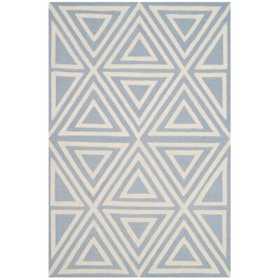 Claro Triangles Hand-Tufted Blue/Ivory Area Rug Rug Size: Round 5