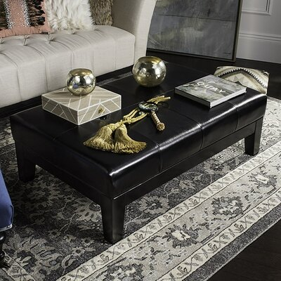 Leather Ottoman Upholstery : Black
