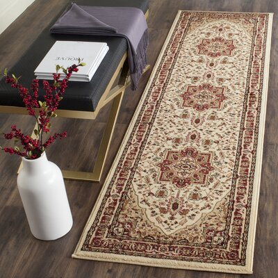 Theresa Ivory/Red Area Rug Rug Size: Runner 23 x 8