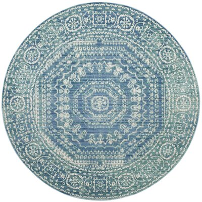 Thanh Blue Area Rug Rug Size: Round 67