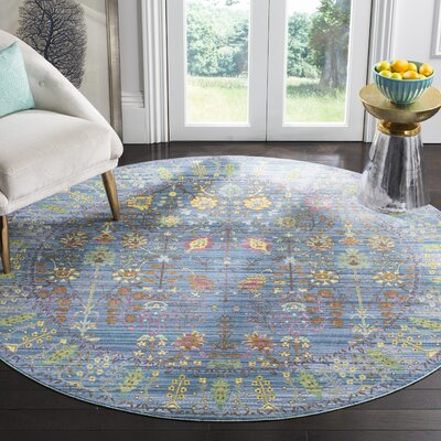 Misael Blue Area Rug Rug Size: Round 67