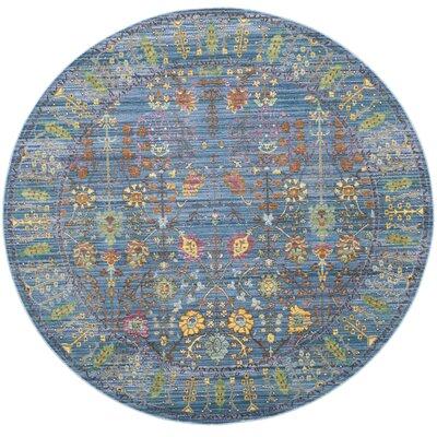 Misael Blue Area Rug Rug Size: Round 67