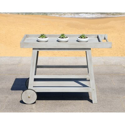 Sutton Indoor/Outdoor Bar Serving Cart Finish: Gray