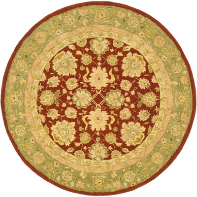 Anatolia Red/Moss Area Rug Rug Size: Round 4'