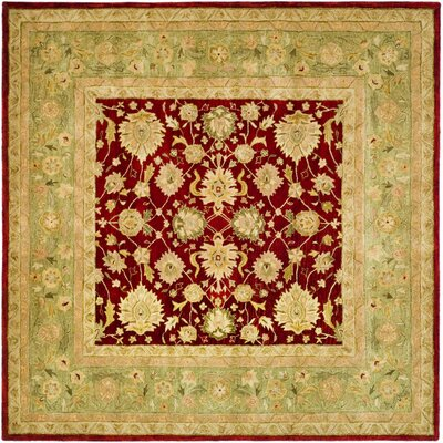 Anatolia Red/Moss Area Rug Rug Size: Square 6