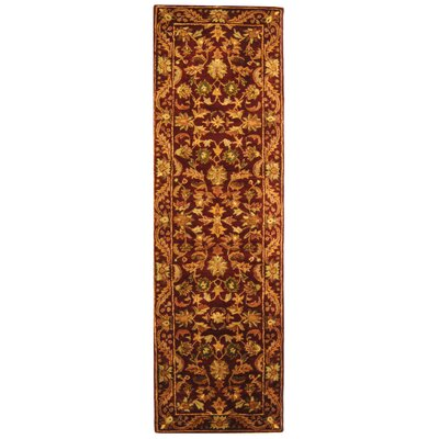 Wine & Gold Area Rug Rug Size: Oval 46 x 66
