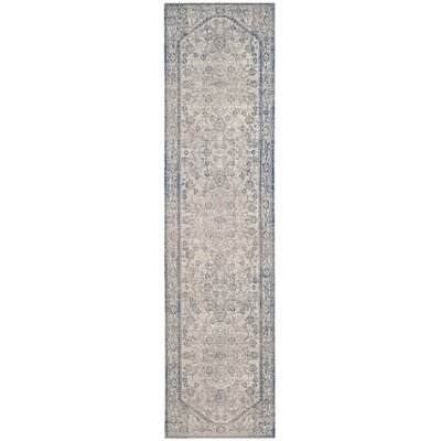 Patina Light Gray & Blue Area Rug Rug Size: Runner 22 x 12