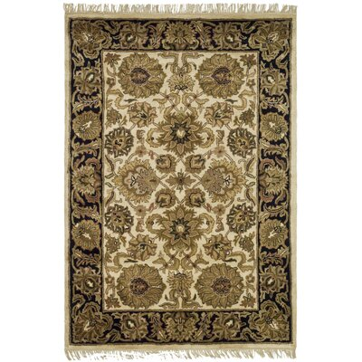 Classic Ivory/Black Kashan Rug Rug Size: 4 x 6