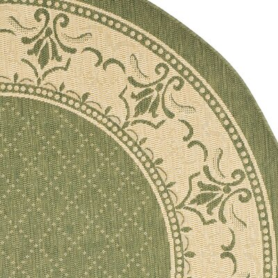 Beasley Olive/Natural Outdoor Area Rug Rug Size: Round 53