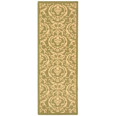Courtyard Olive/Natural Outdoor Rug Rug Size: Runner 2'4