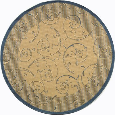 Alberty Natural / Blue Outdoor Area Rug Rug Size: Round 67