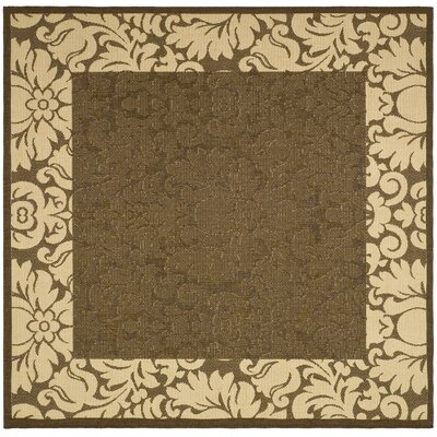 Courtyard Chocolate / Tan Outdoor Area Rug Rug Size: Square 6'7