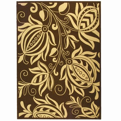 Courtyard Chocolate/Natural Outdoor Area Rug Rug Size: 2' x 3'7