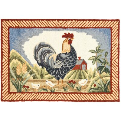 DuraRug Blue Rooster Area Rug Rug Size: Rectangle 2 x 3