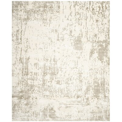 Maxen Hand-Knotted Ivory/Gray Area Rug Rug Size: Rectangle 8 x 10
